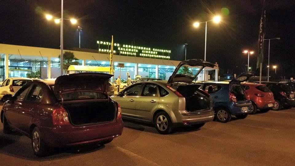 Airport cars at night